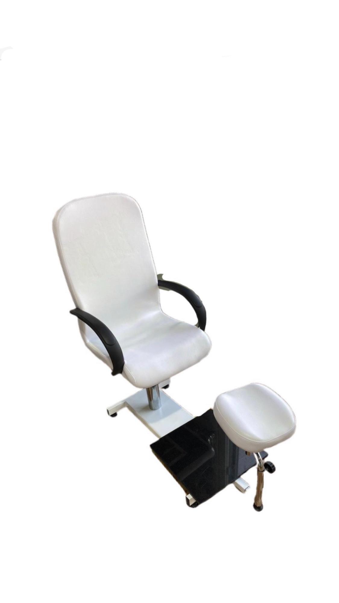 כיסא פדיקור משולב לבן